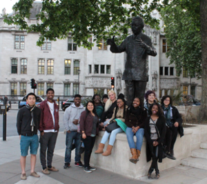 Last year's Focus on Africa class posing by a Nelson Mandela statue in Parliament Square, London.